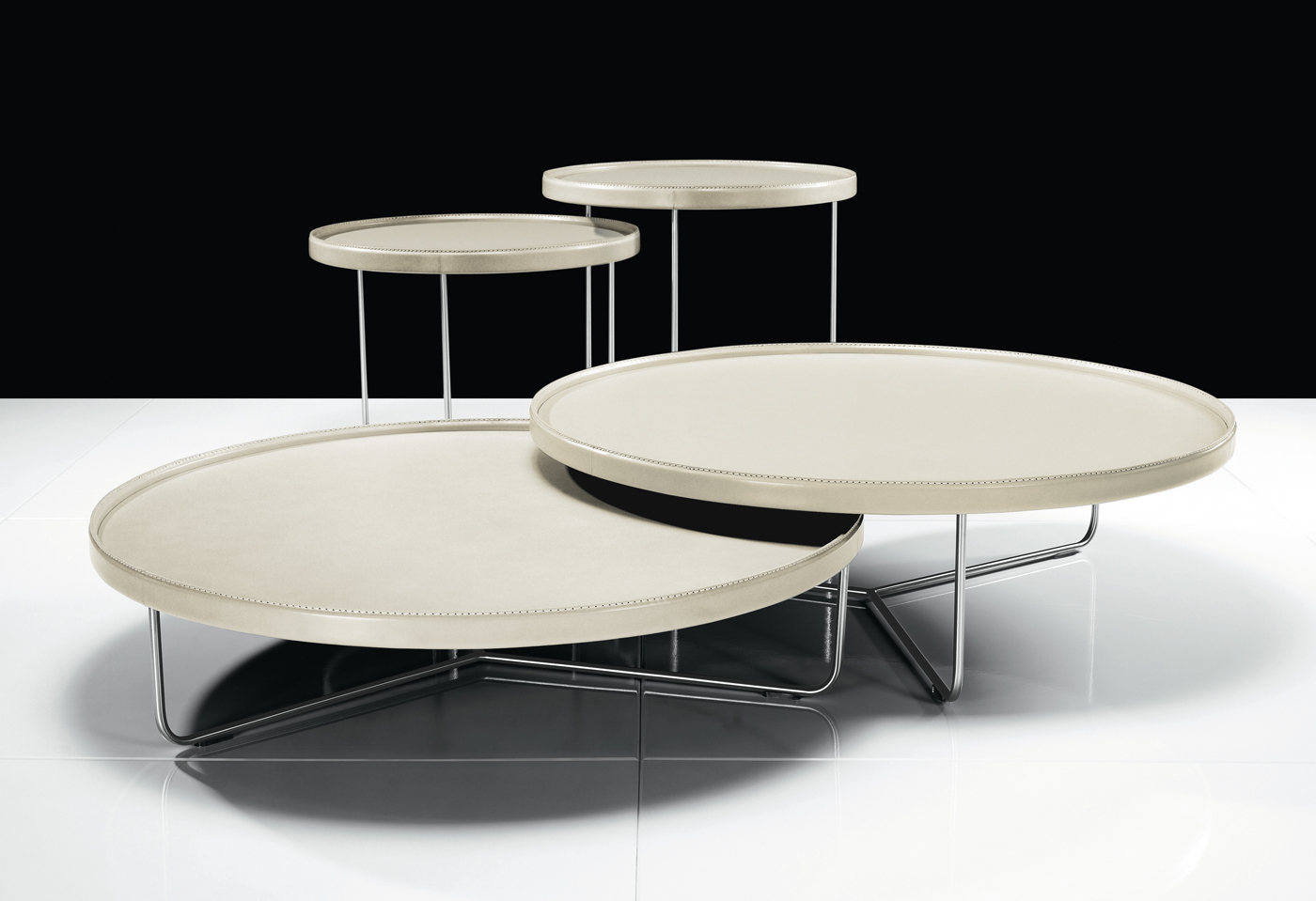 Adelphi Nesting Coffee Tables In Leather Kaza Modern Furniture